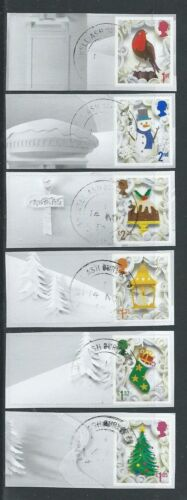 GREAT BRITAIN 2016 CHRISTMAS SET OF 6 WITH ELLIPTICAL PERFORATIONS FINE USED
