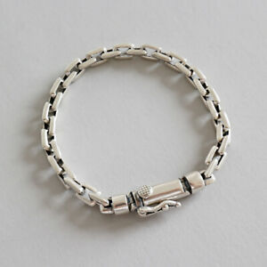 NEW-Retro-Genuine-s925-Sterling-Silver-Rolo-Link-Chain-Bracelets-Unisex-Vintage