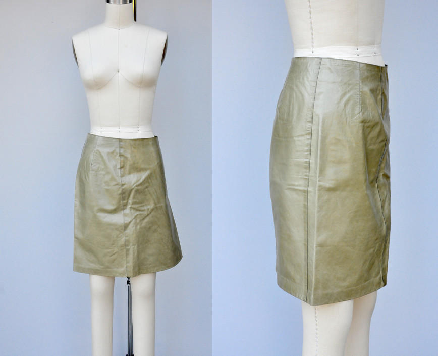 RUGBY North America Leather Skirt - Sage Green Leather - Soft Supple Leather 2