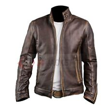 Mens Vintage Handmade Cafe Racer Stylish Biker Brown Distressed Leather Jacket