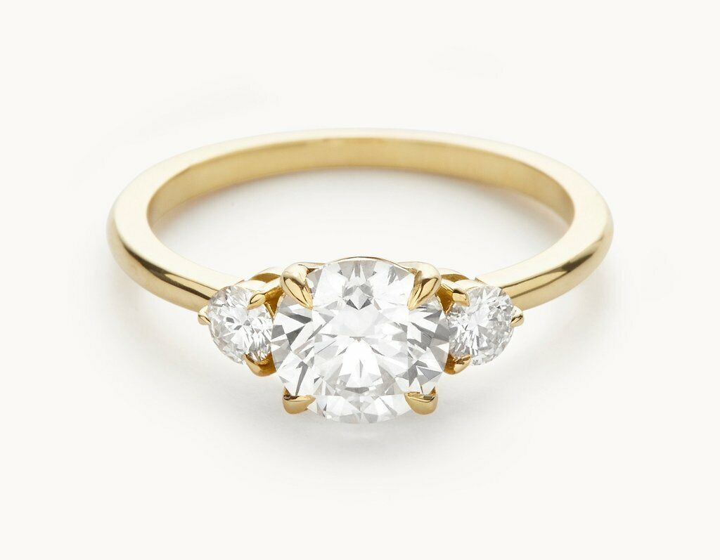 1.60 Ct Round Diamond Engagement Ring 14K Solid Yellow gold Rings Size 5 6 +09