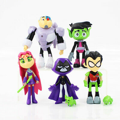 7pcs Teen Titans Go To the Movies Robin Cyborg Beast Boy Raven Action Figure New