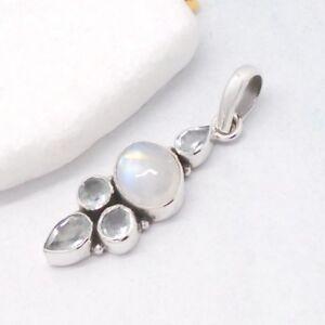 Mondstein-weiss-blau-oval-Blautopas-Design-Anhaenger-925-Sterling-Silber-neu