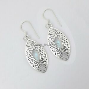 Rainbow-Moonstone-Gemstone-Dangle-Earrings-925-Sterling-Solid-Silver-Jewelry