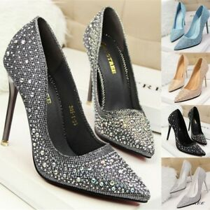 Fashion-Women-Pumps-Classic-Sequined-Shallow-Women-High-Heels-Pointed-Toe-Party