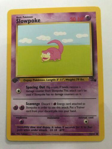 Slowpoke 55//62 Pokemon Card NM 1st Edition Fossil