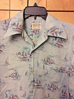 Vintage 70's Winchester Disco Men's Blue Abstract Sailboat Long Sleeve Shirt M