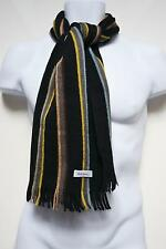Paul Smith Mens Scarf Muffler Wool Blend Striped Preppy Black Designer