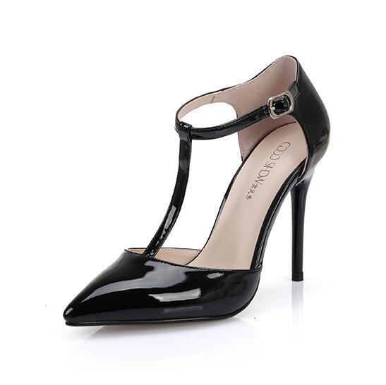 10/12CM Damen Spitz Sandalen Lackleder Sandalen Spitz High Heels T-Riemchen Pumps Gr.35-43 d1bdb7
