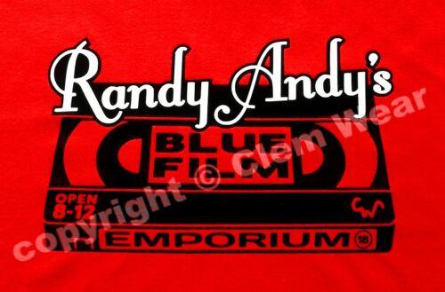 Randy Andy Blue Film movie BNWT mens t-shirt Clem Wear ® funny retro silly video