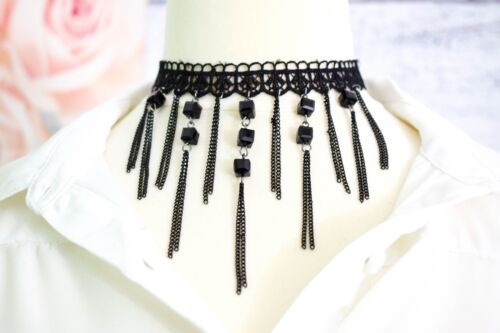 Choker Lace Chains Beads Vintage Black Ethnic Style Boho Collar Necklace Party