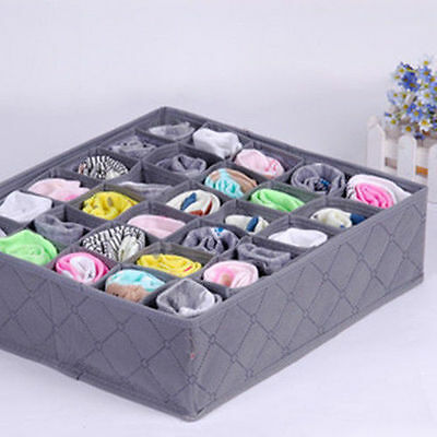 NEW 30 Cells Bamboo Charcoal Ties Socks Drawer Closet Organizer Storage Box DE
