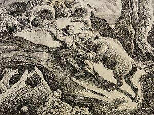 Charles-Jean-GROUX-1802-1865-antik-Radierung-1860-WILDSCHWEIN-GREIFT-WANDERER-AN