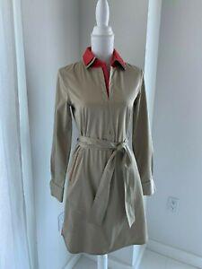 Elie-Tahari-Tan-Khaki-amp-Coral-Belted-Cotton-Long-Sleeve-Shirt-Dress-SZ-2-XS