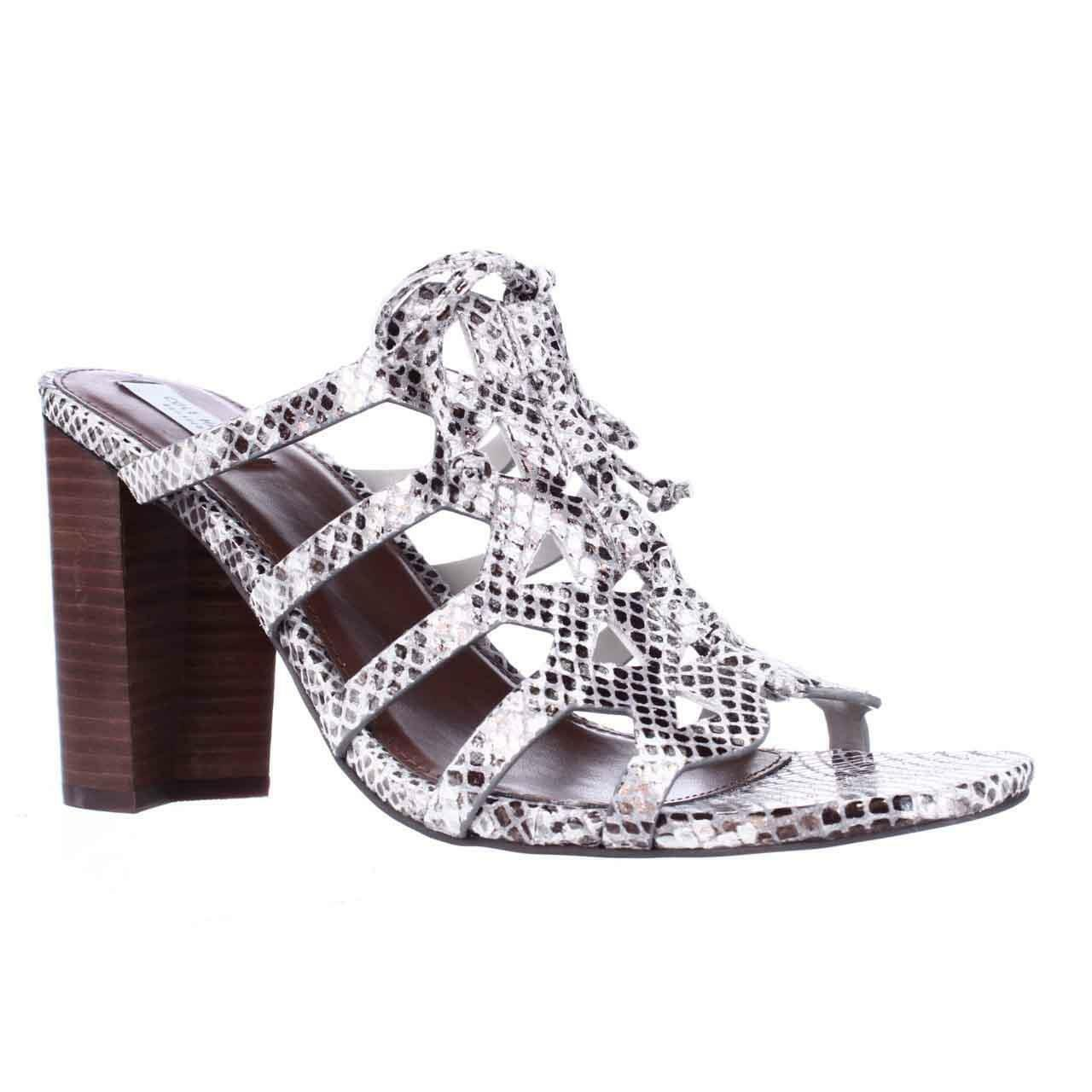 Cole Haan Claudia Heels Silver Leather Slides Sandals shoes 7 NEW IN BOX