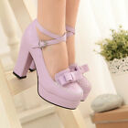 Sweet Women High Block Heel Bowknot Mary Jane Shoes Ankle Strap Party Dress Shoe