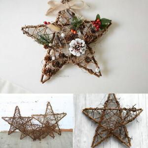 Da-appendere-Pentagramma-CORONA-ghirlanda-vimini-rattan-Impianto-Festa-di-Natale-porta-Wall-Decor