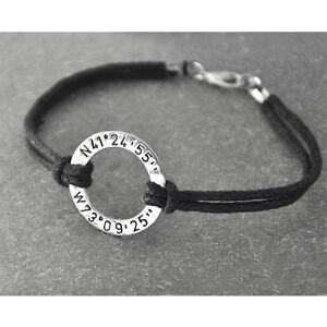 Image Is Loading Custom Coordinates Bracelet Personalized Hammered Circle
