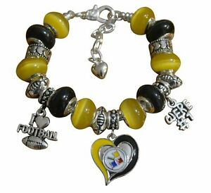 Image Is Loading Pittsburgh Steelers Charm Bracelet Amp