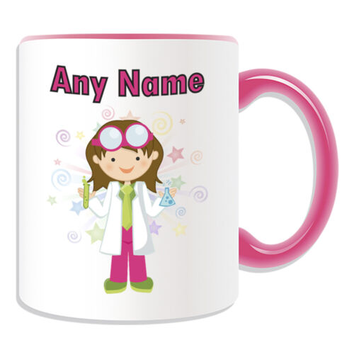 Personalised Gift Scientist Girl Mug Cup Birthday Christmas Name Text Her Kid
