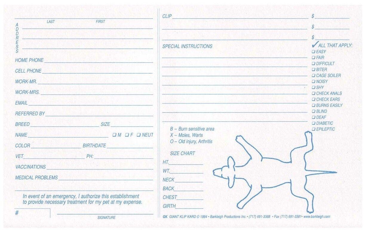 bianca Klip Kards Dog Grooming Kennel Card Diagram Info Checklist  5 x 8 100 Ct