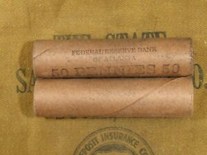 ONE-Uncirculated-FRB-Atlanta-Lincoln-Wheat-50-Cent-Penny-Roll-1909-1958-PDS