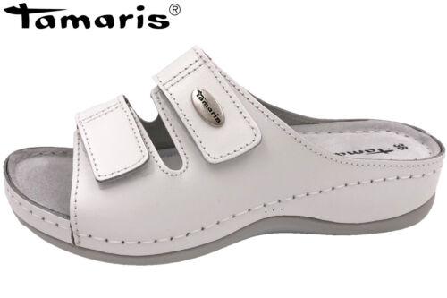 Tamaris Damen Pantolette Lea Weiß Leder Fußbett NEU 11-27510-117