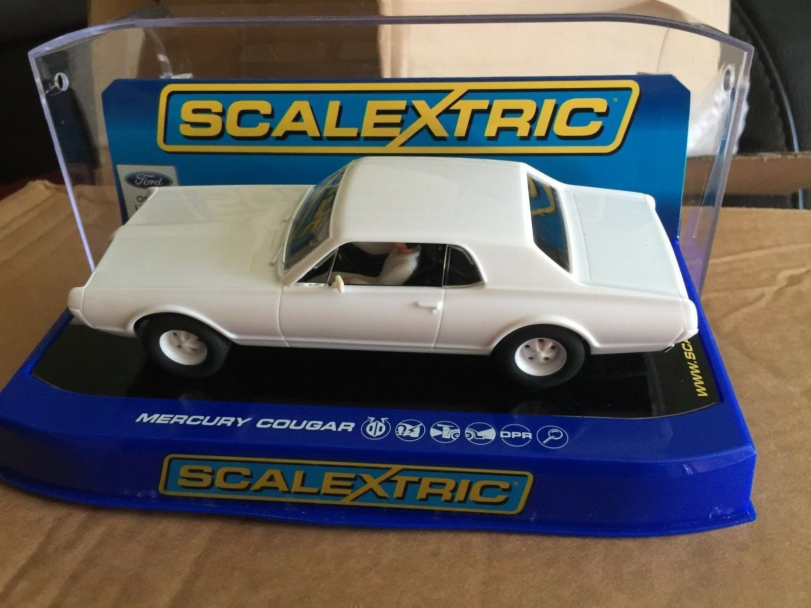 Scalextric Plain blanc MERCURY COUGAR REF C3443TF USA exclusive rare modèle