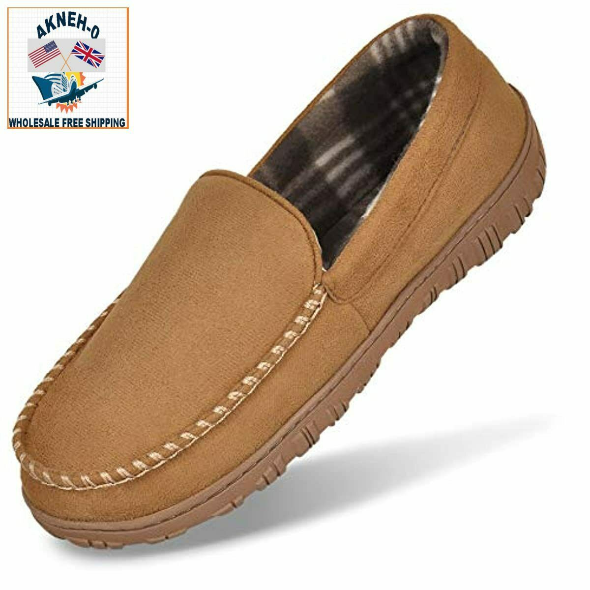 MIXIN Men's Suede Memory Foam Moccasin Slippers Size 8 Loafers House Shoes Light
