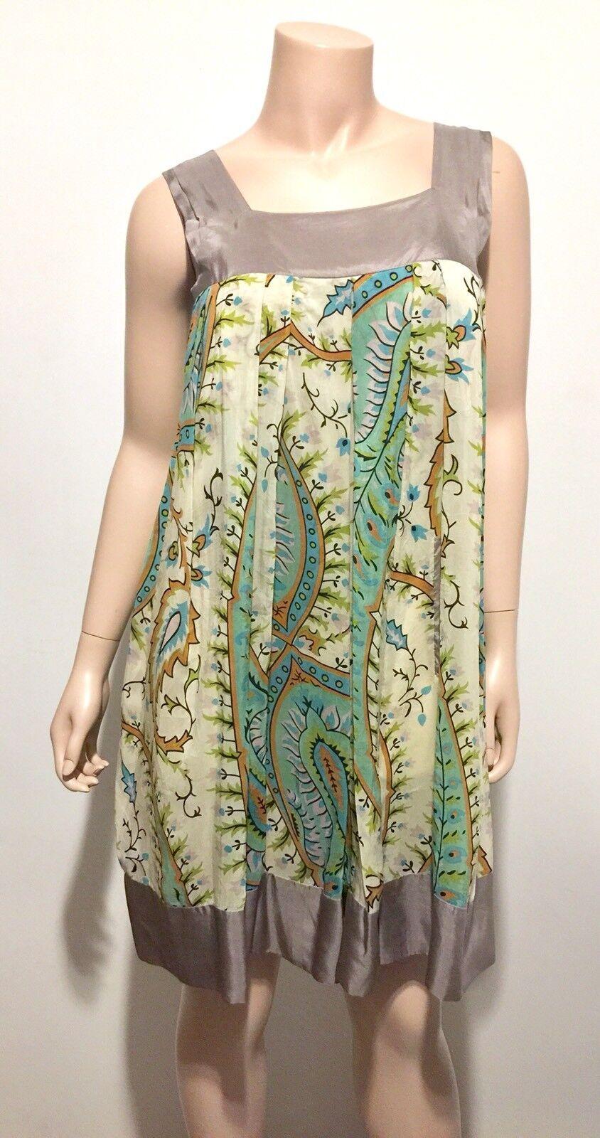 Johnny Was Sleeveless Floral Silk Dress Grün Blau Tan Summer Größe XS EUC