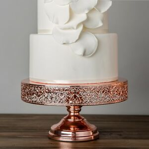 12 inch rose gold plated wedding cake stand round metal cupcake party display 705911575851 ebay. Black Bedroom Furniture Sets. Home Design Ideas