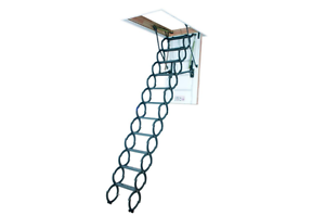 Fakro 9 ft. 6 in., 22.5 in. x 31 in. Insulated Steel Scissor Attic Ladder New
