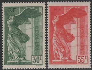 FRANCE-YVERT-354-55-SCOTT-B66-67-034-WINGED-VICTORY-OF-SAMOTHRACE-1937-034-MNH-VVF