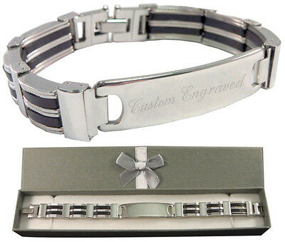 Custom Engraved Men's ID Bracelet Thick & Chunky Design with gift box - BR5