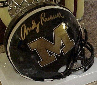 Andy Russell Signed Missouri Mini Helmet and COA
