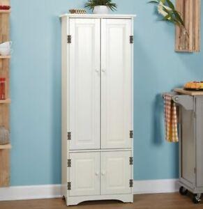 White Extra Tall Cabinet Kitchen Cupboard Bathroom Linen ...