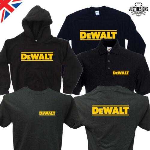 Black T-shirt Hoodie Hoody Polo Shirt Jumper S-5XL Work Wear Power Tools DeWalt