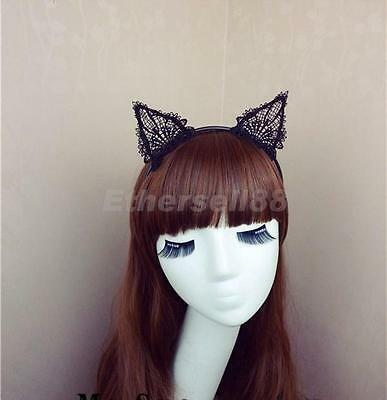 Black Cat Ears Headband Hair Band with Lace for Fancy Dress Costume Party