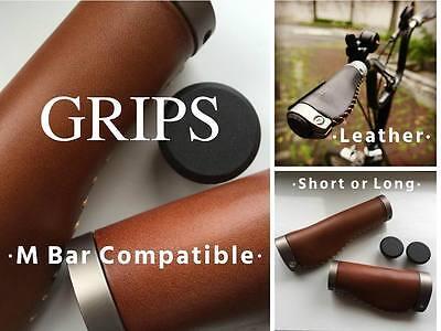 MiniMods Italian Leather Ergonomic BROMPTON Grips for S type Handlebar BLACK