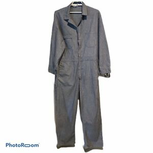 Vtg-Big-Bear-Coveralls-Overalls-Blue-Herringbone-Striped-Mechanics-Size-46-R