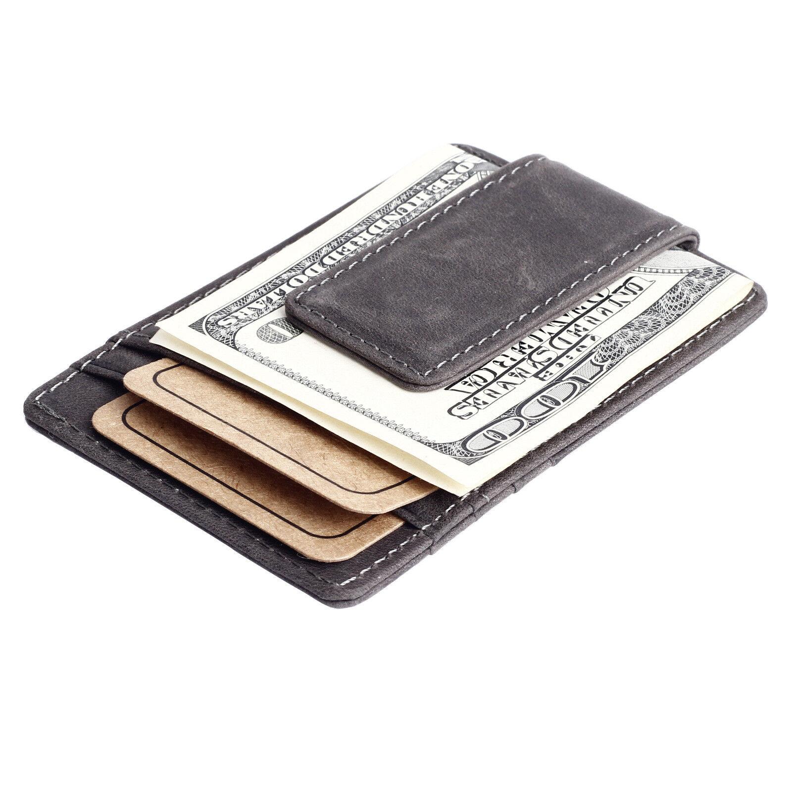 Slim Men's Leather Magnet Wallet Credit Card ID Holder Money Clip Front Pocket