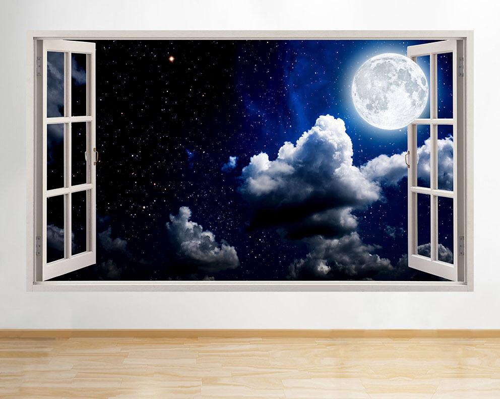 C553 Lune Nuit Ciel Etoiles Fenêtre Chambr Autocollant Chambre 3D Vinyle enfants