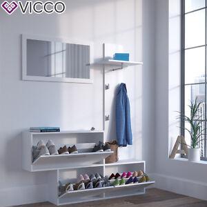 vicco garderobe gentle wei set spiegel schuhschrank wandpaneel kleiderhaken ebay