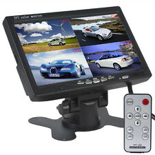 7Inch TFT LCD 4 Split Quad Video Display 4-CH IN Car Rear View Headrest Monitor