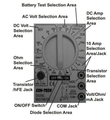 7 Function Digital Electronic Multimeter Multi Meter Volt Ohm Amp Meter Tester