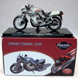 Atlas-1-24-Scale-appx-6cms-Suzuki-Katana-1982-Silver-Plinth-Model-Motorbike