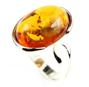 925-Sterling-Silver-amp-Baltic-Amber-Jewellery-GL464A-Designer-Ring