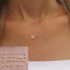 Aleacion-para-Mujer-Chapado-en-Oro-Cadena-Collar-Colgante-Inicial-letra-del-alfabeto-A-Z