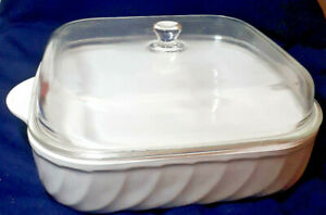 ARCOFLAM WHITE CASSEROLE PAN WITH GLASS LID, 3 litres approx, VGC