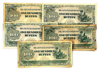 10 Birmania 591ms Ww2 Papel Dinero 100 Rupias Japonés Invasion Circulación